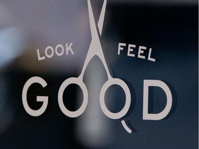 Barbershop Vinyl Window Decal design vector arkansas lockup branding flat vintage typography hunter oden