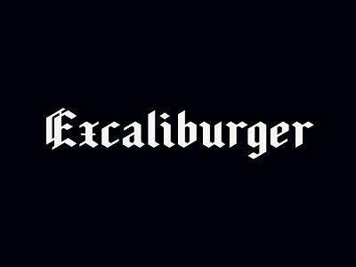 3rd Generation Excaliburger Logotype excalibur medieval old english blackletter flat branding logo arkansas lettering typography hunter oden