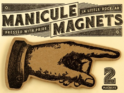 Manicule Magnets hunter oden manicule package type typography lockup victorian letterpress vintage