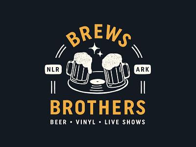 Brews Brothers Logo hunter oden lockup vinyl logo beer flat vintage arkansas