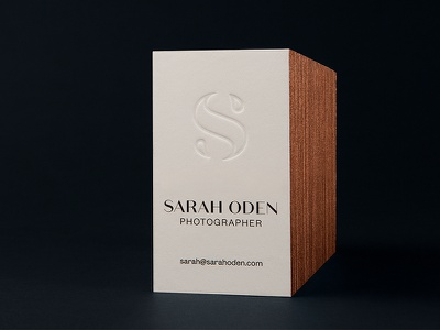 Sarah Oden Photographer Business Cards agdg hunter oden collateral logo logotype brand branding deboss emboss type typography fashion photo photographer