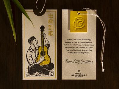 Pear City Guitars Hangtags tag hunter oden illustration lettering acoustic monogram letterpress vintage guitar