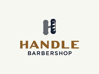 Handle Barbershop Logo haircut parlor pole illustration grooming barber barbershop flat logo lockup typography vintage hunter oden