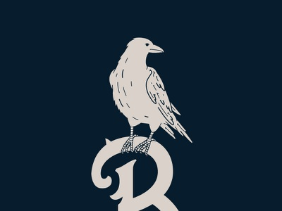 Raven Illustration bird raven illustration flat hunter oden vintage