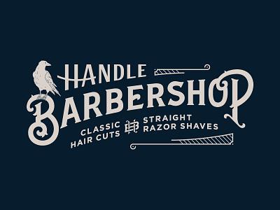 Handle Barbershop Window lettering barbershop barber monogram victorian illustration flat typography vintage hunter oden