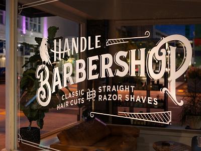 Handle Barbershop Window Decal barbershop branding monogram lettering flat lockup arkansas typography vintage hunter oden