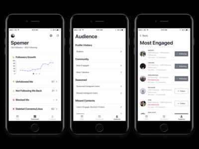 Instagram tracker user interface design