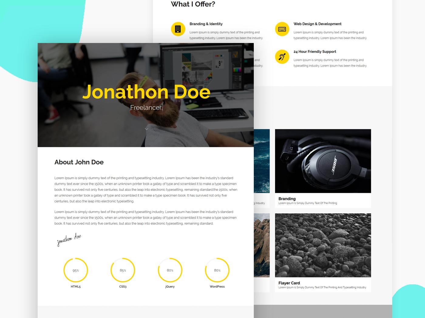 Dribbble Lompot Personal Portfolio Resume Website Template For