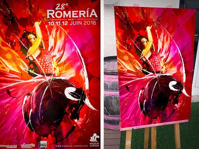 """""""Mirando Adelante"""" Affiche Romeria Mauguio 2016, Morgan Guiraud morgon morgan guiraud 2016 mauguio spain dance flamenco bull romeria affiche canvas cartel"""