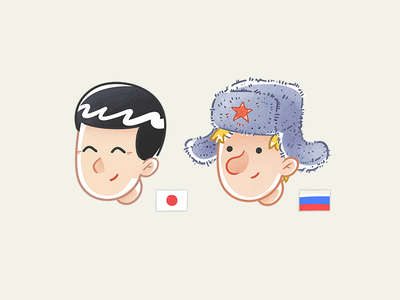 J&R 🍻 russian japanese sketch characters
