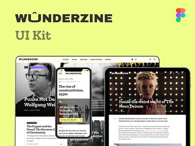Wûnderzine online magazine free UI Kit