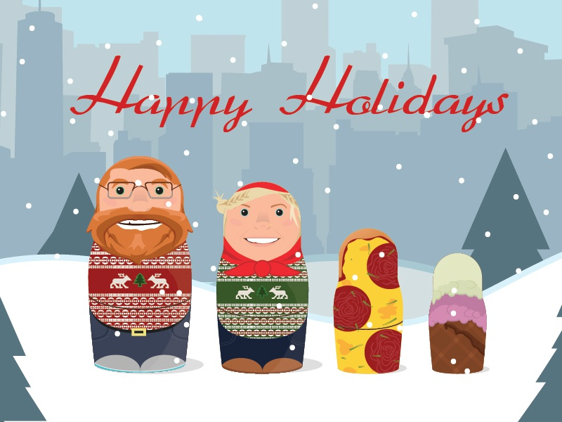 Holiday Card holiday card russian nesting dolls illustration snow christmas nyc city