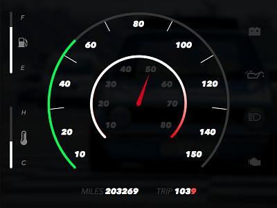 Daily UI - 034 - Car UI dashboard tachometer speedometer car dailyui
