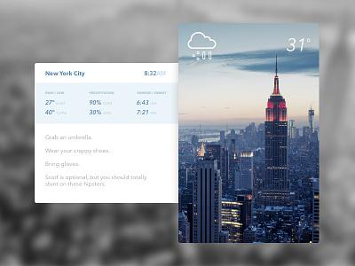 Daily UI - 037 - Weather cold snow new york nyc widget weather module dailyui