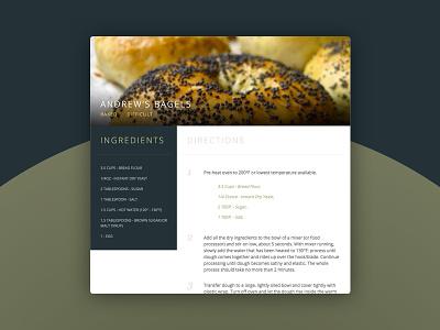 Daily UI - 040 - Recipe ingredients bagel cooking recipe dailyui