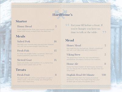 Daily UI - 043 - Food Drink Menu dailyui game of thrones drink menu food