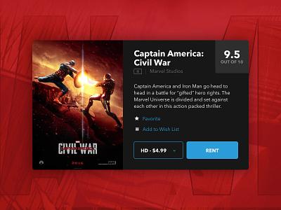 Daily UI - 045 - Info Card civil war rent movies card information dailyui