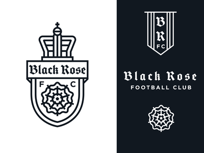 Black Rose Football Club monoline branding logo soccer football club black rose