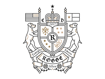 Rogge Family Crest dribbbleweeklywarmup crest monoline family crest dog crown monogram flags illustration
