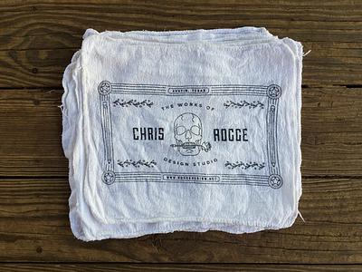 Chris Rogge Design Studio Shop Rag illustration rose skull logo branding products koozie box shirt t rag shop