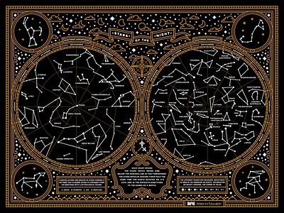 Stars Of The Night afe mythology stars poster moon illustration constellations