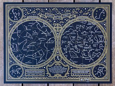 Stars Of The Night Poster screenprint afe mythology stars poster moon illustration constellations