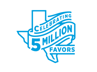 5 Million Favors logo celebration tshirt illustration texas delivery favor
