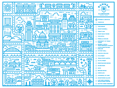 Favor Runner Clubhouse Mural austin delivery favor texas project mural monline map illustration design city