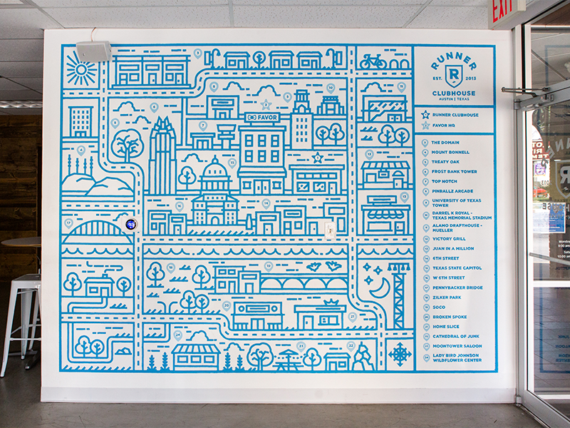 Favor Runner Clubhouse Mural monoline texas project mural map illustration favor design delivery city austin