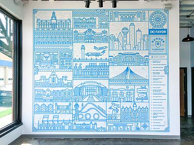 Dallas Runner Clubhouse Mural stadium dfw skyline dallas city delivery design favor illustration mural texas monoline