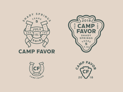 Camp Favor Branding arrowhead horseshoe logo branding summer delivery favor camp