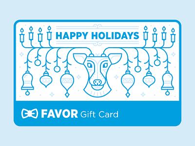 Favor Gift Card - Holiday Edition reindeer holiday card holiday monoline illustration giftcard texas austin delivery favor