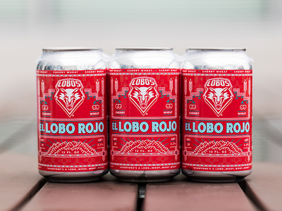 El Lobo Rojo Beer label label brewery cherry wheat mountain branding beer beer label new mexico monoline illustration