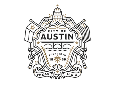 MOO | AIGA Austin SXSW Postcard Crop capital flag crest branding texas austin monoline illustration