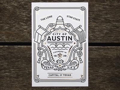 MOO | AIGA Austin SXSW Postcard texas monoline illustration branding crest flag capital austin