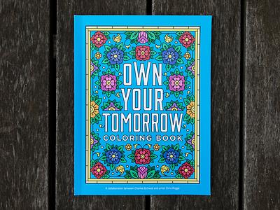 Charles Schwab Adult Coloring Book typography quote monoline illustration coloring book charles schwab border