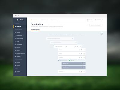 Futbalito Admin Drag & Drop flat design web football sport dashboard administration admin ux ui application app