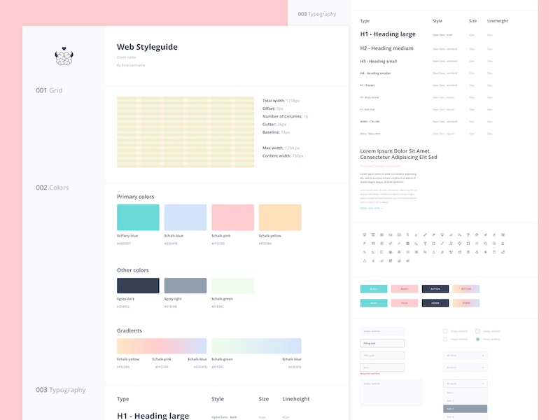 Justmighty Styleguide Template styleguide website kit colors typography brand guide style app web ux ui