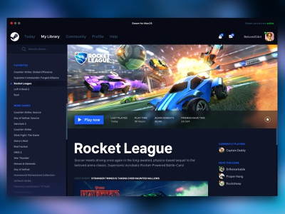 Steam Redesigned gaming ui rocket league