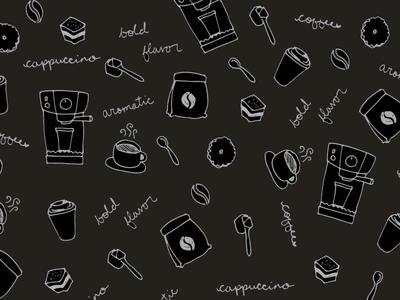 Coffee Pattern cafe espresso sketch hand-drawn coffee