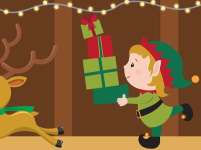 Christmas Rush illustration winter holiday santa elf christmas