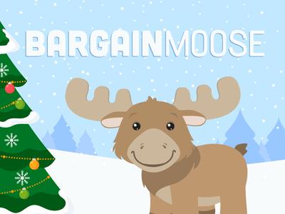 Bargainmoose Winter Scene winter christmas illustration animal cute moose