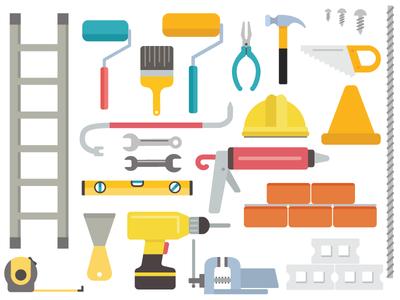 Construction Site Tools worker vector flat drill bricks paint hammer tools construction