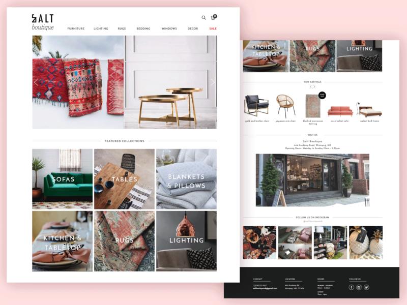 Salt Boutique Website Mockup homepage fashion site web design ecommerce modern homepage web design landing page