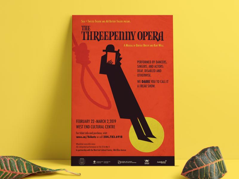Threepenny Opera Poster Mockup2 west end west end cultural center spy noose orange 1920s 1930s pre war germany german threepenny opera opera poster design poster winnipeg