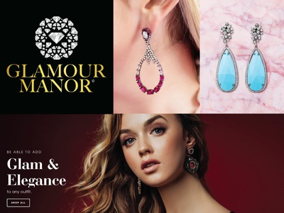 Glamour Manor Jewellery Logo Mark luxury woman feminine jewels jewel nyc serif diamond gold gradiant branding logomark circle logo circle earrings curated diamonds fashion jewellery