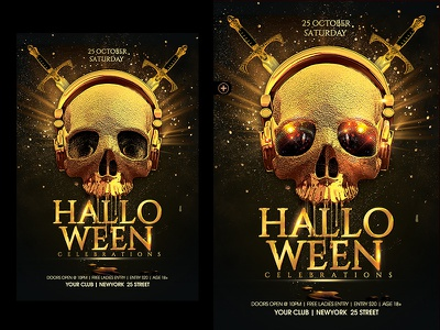 Halloween Party Flyer halloween2018 halloween gold scary halloween party halloween flyer halloween bash horror night halloween