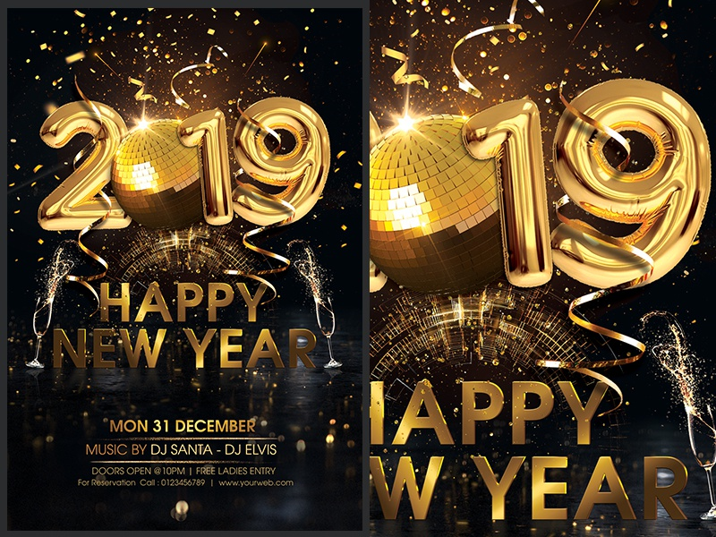 new year party flyer new year card disco party golden new year new year bash new
