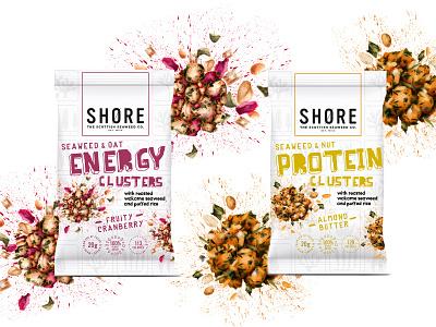 Seaweed Clusters range food illustration packaging snacks packaging design watercolour illustration lifestyle healthy eating packaging illustration food illustration