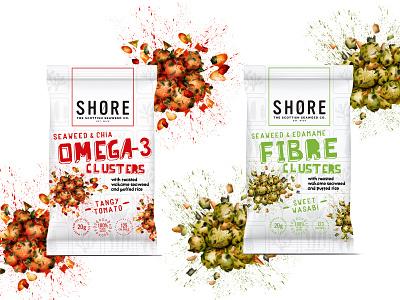 Seaweed Clusters range food illustration packaging2 snacks packaging illustration packaging design healthy eating watercolour illustration food illustration